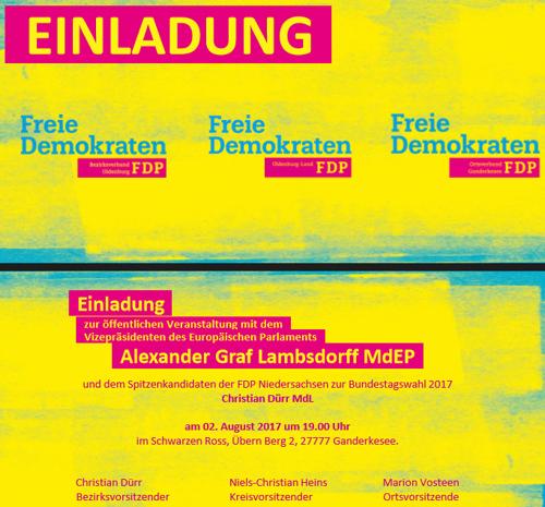 Einladung zur öffentlichen Veranstaltung mit dem Vizepräsidenten des Europäischen Parlaments Alexander Graf Lambsdorff
